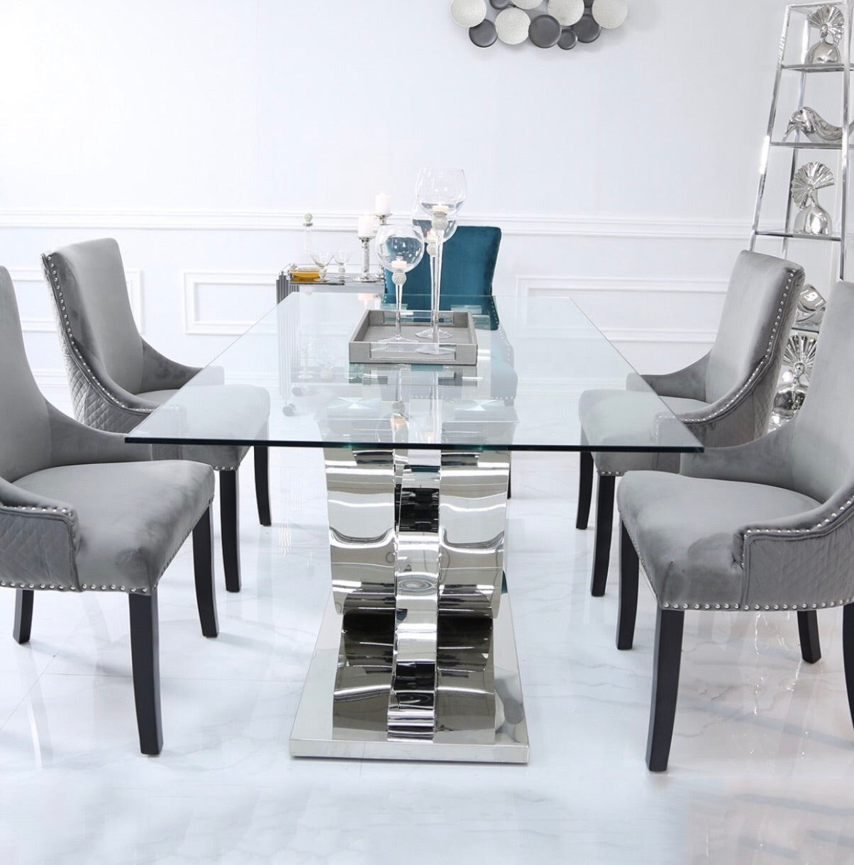 Delia Dining Set - Grey Chairs
