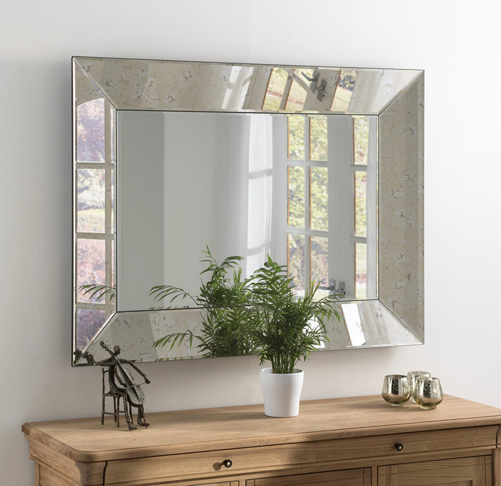 Silver Antique Rectangular Mirror