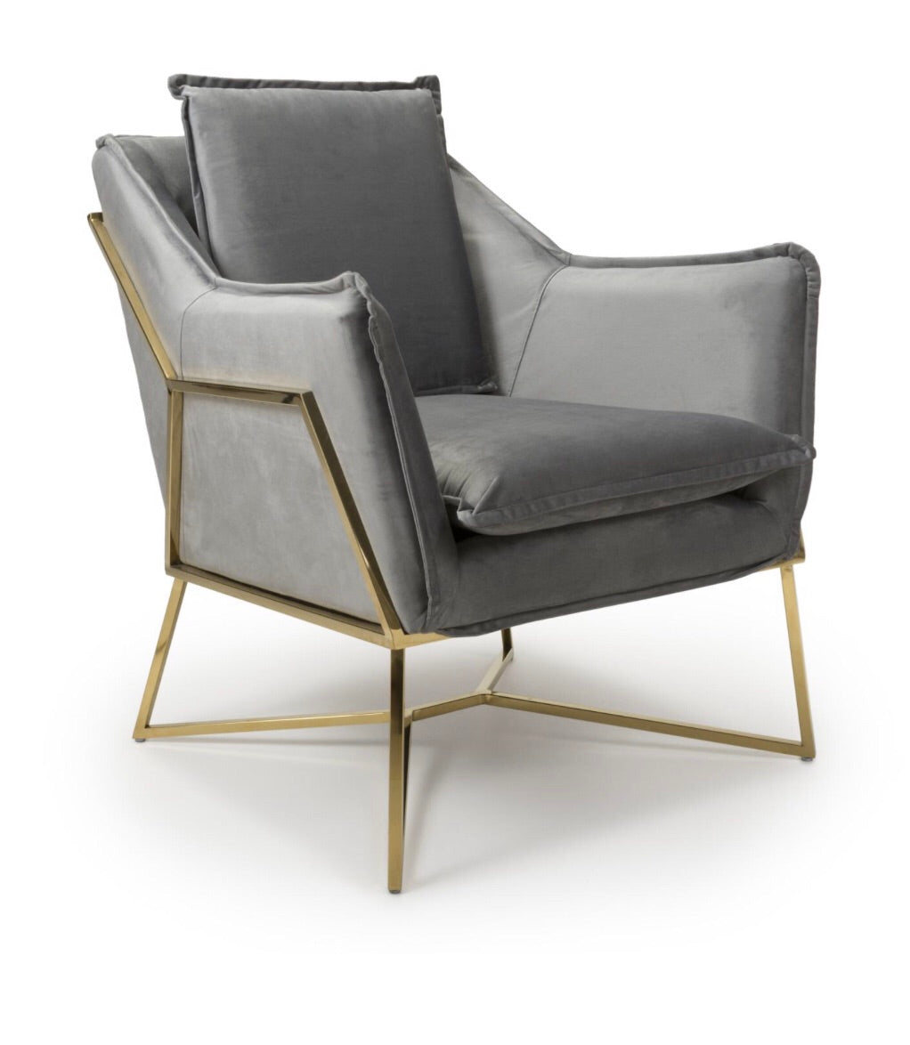 Miami Brushed Velvet Grey Armchair