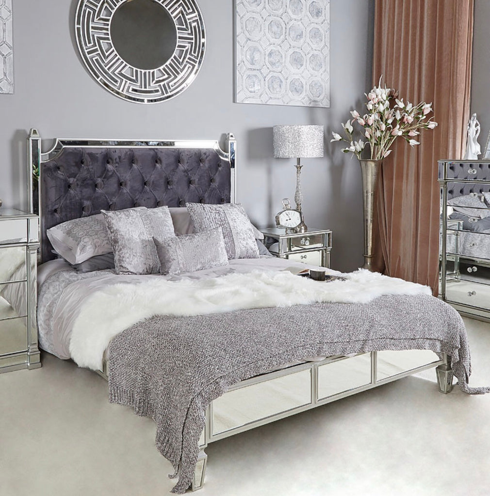 Capri Silver Mirror King Size Bed