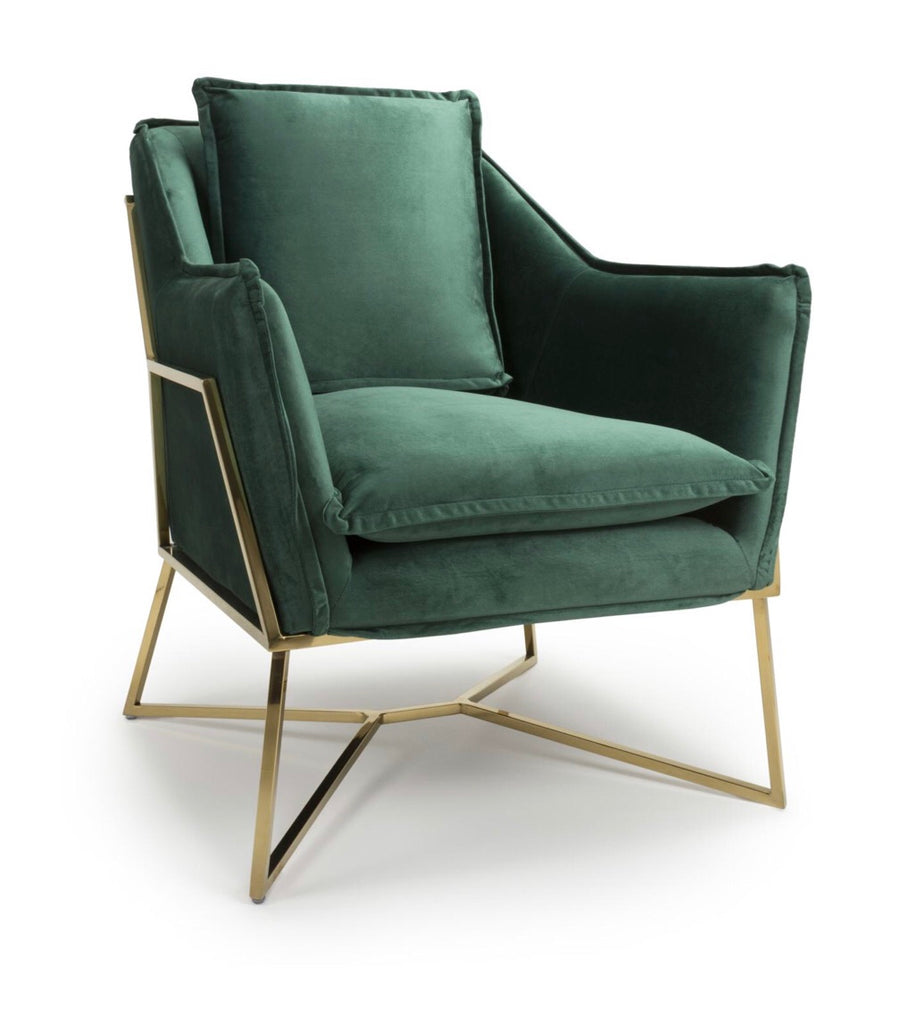 Miami Brushed Velvet Green Armchair