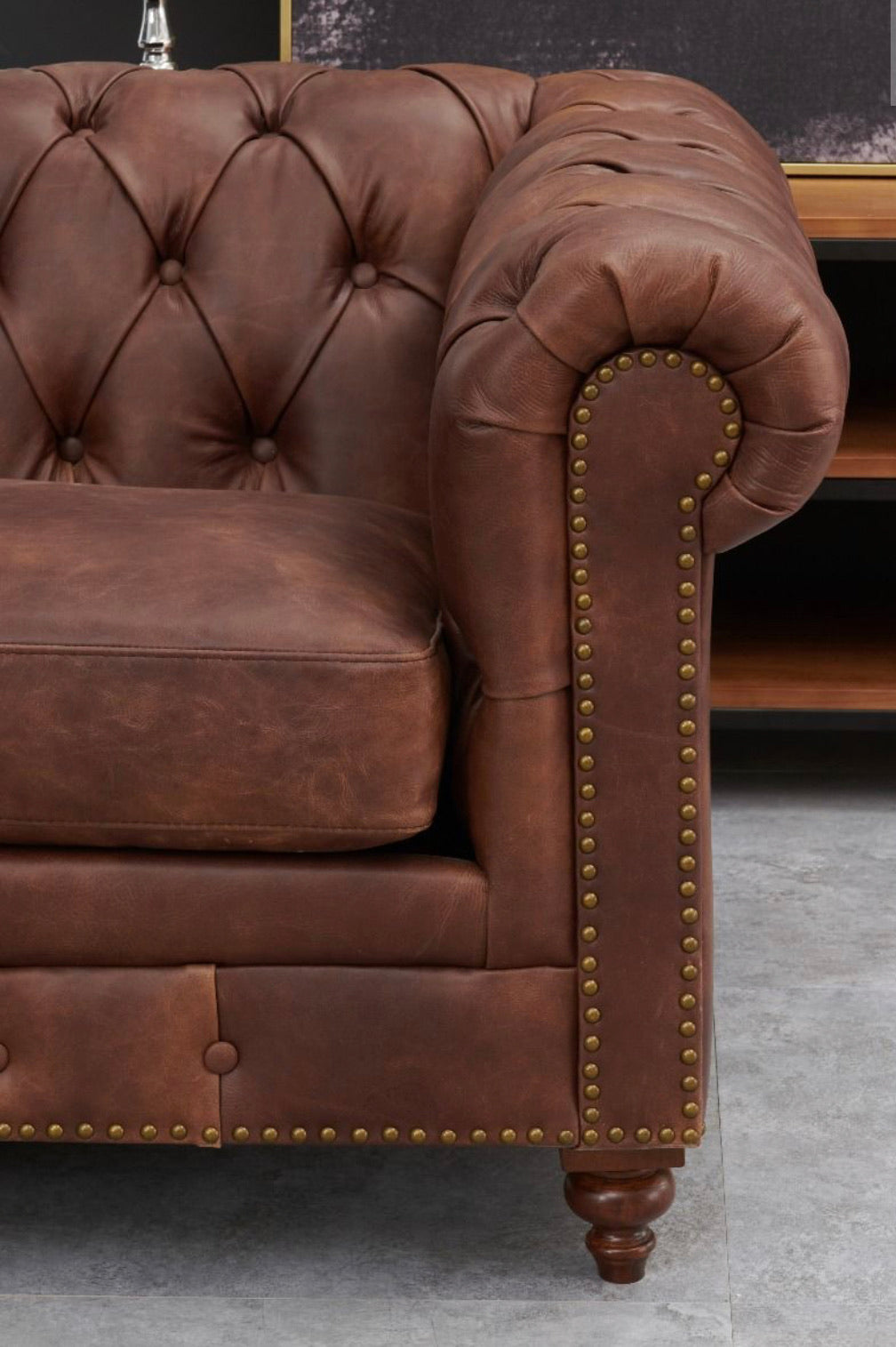 Chesterfield 2 Seater Sofa - Brown Leather