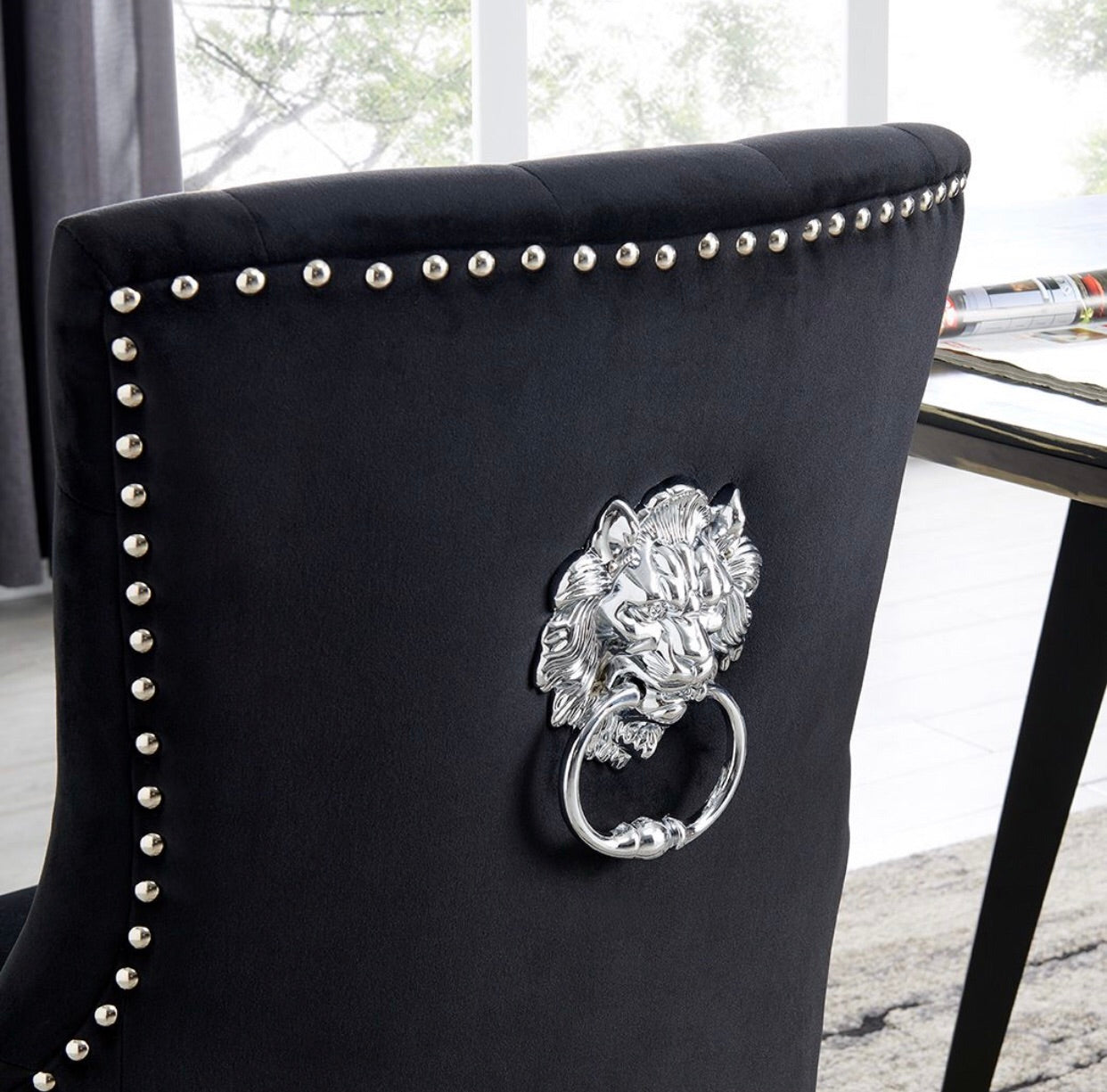 Lion Knocker Dining Chair - Black