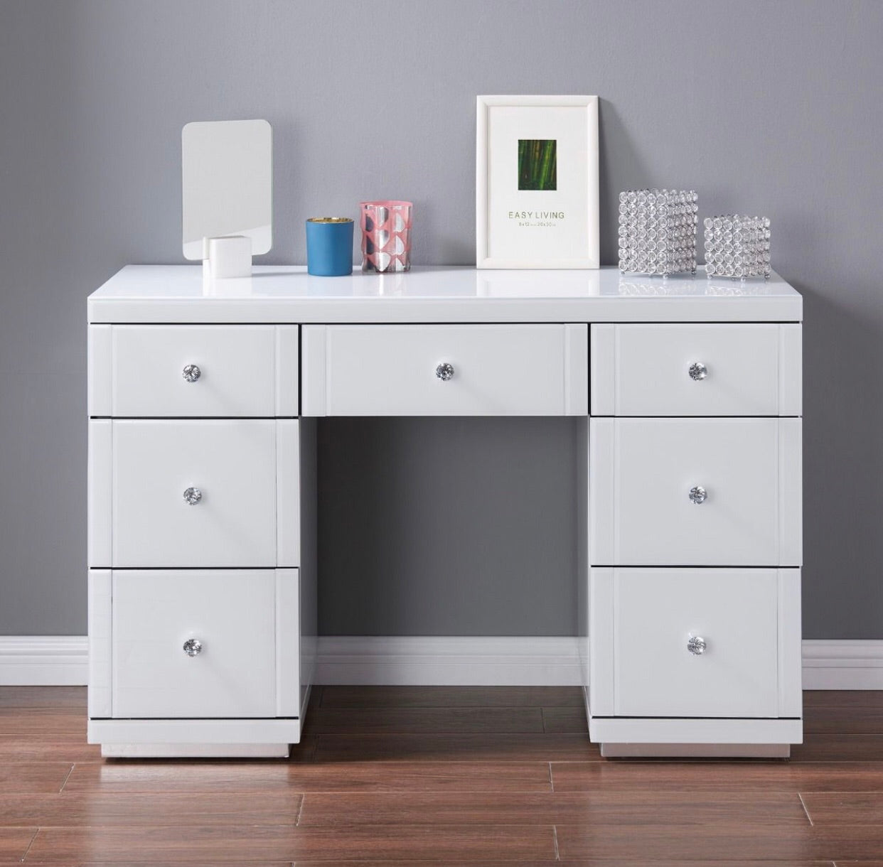 Hollywood Dressing Table and Mirror - White