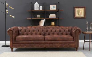 Chesterfield 3 Seater - Brown Leather