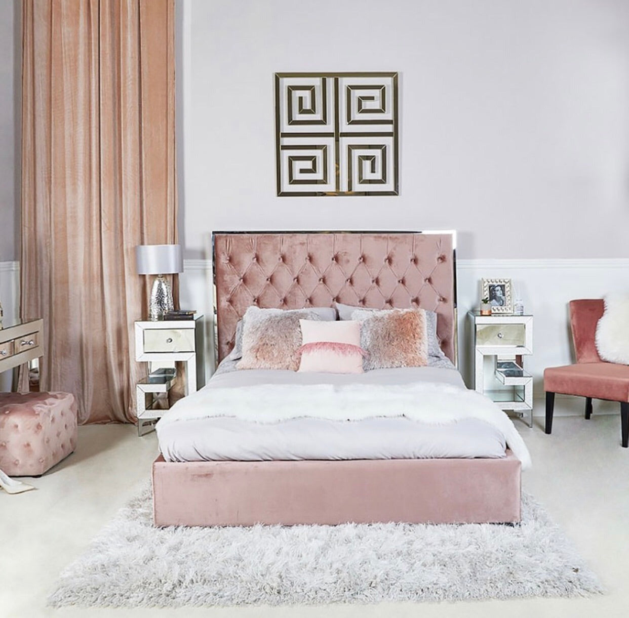 Monte Carlo Bed Frame - Rose Pink