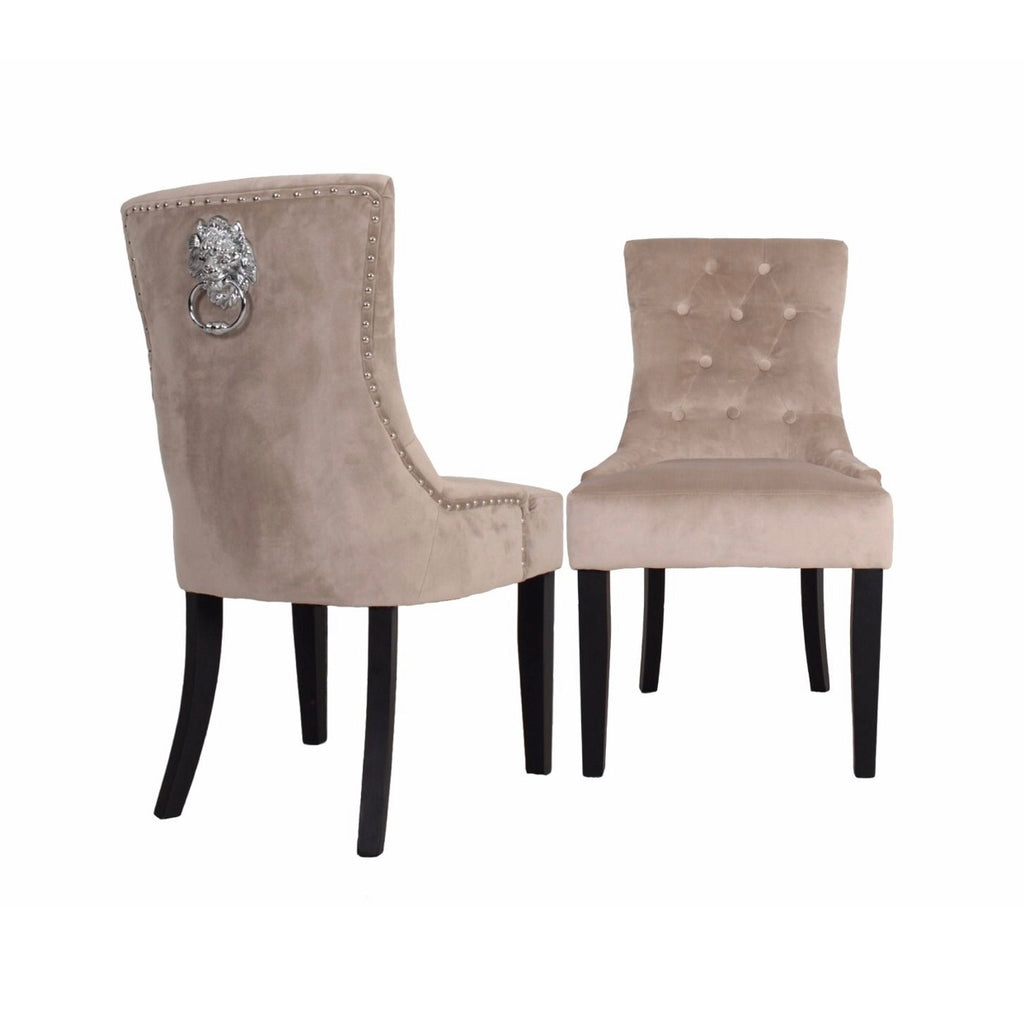 Lion Knocker Dining Chair - Cream