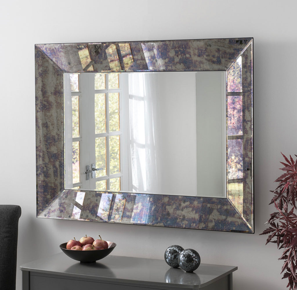 Blue Antique Rectangular Mirror