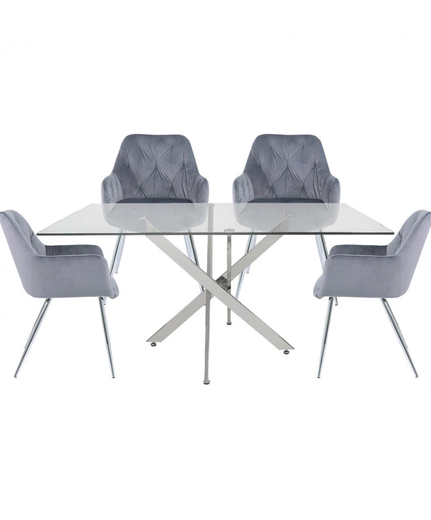 Nevada Rectangular Dining Set - Grey Chairs