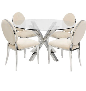 Crossly Round Dining Set - Cream