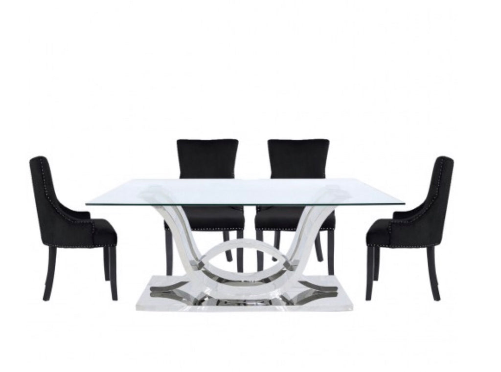 Delia Dining Set - Black Chairs
