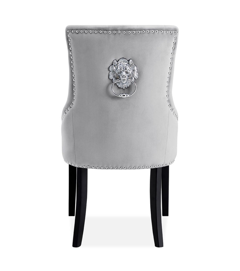 Lion Knocker Dining Chair - Silver