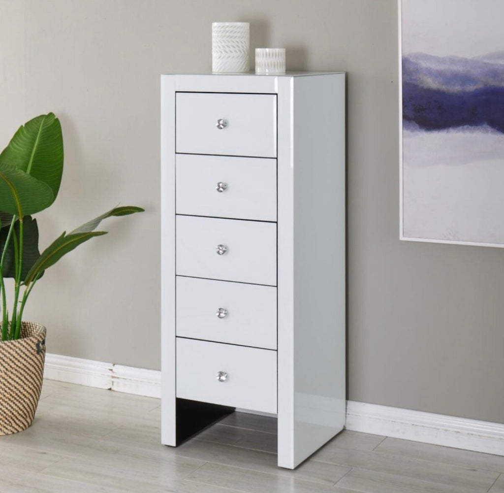 Hollywood 5 Drawer Tallboy - White