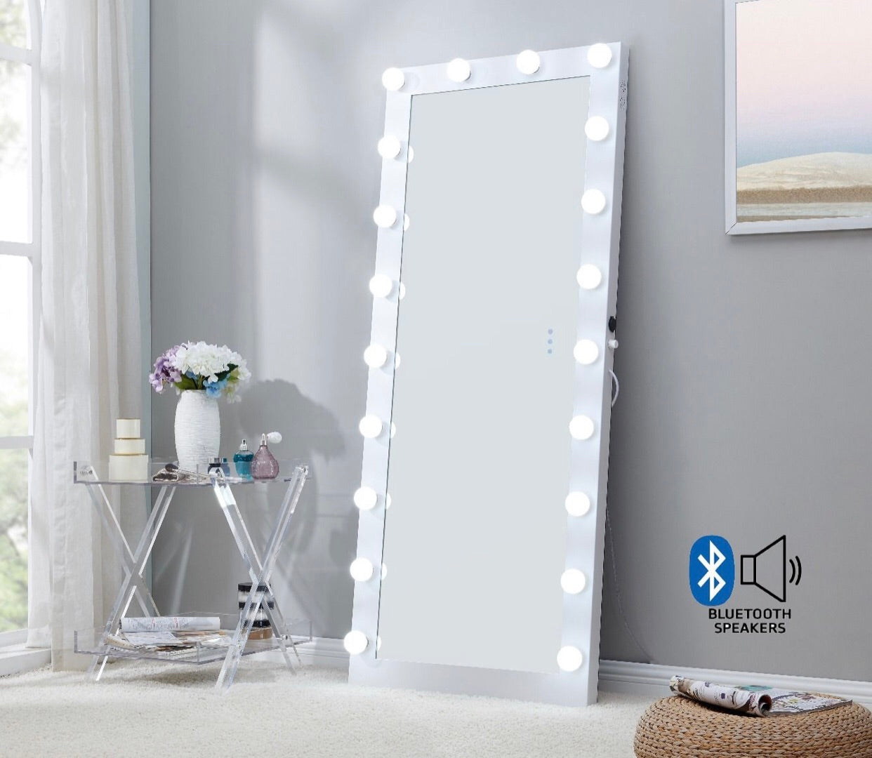 Hollywood Floor Mirror - White