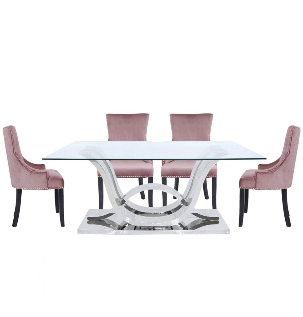 Delia Dining Set - Blush Pink Chairs