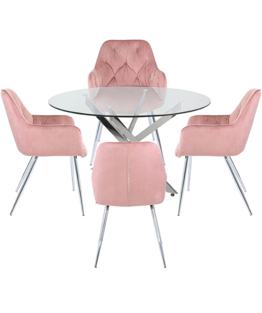 Nevada Round Dining Set - Rose Pink Chairs