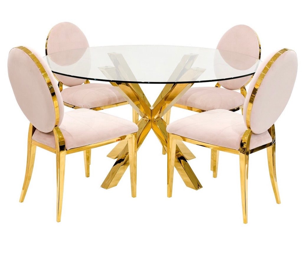 Crossly Round Dining Set - Gold