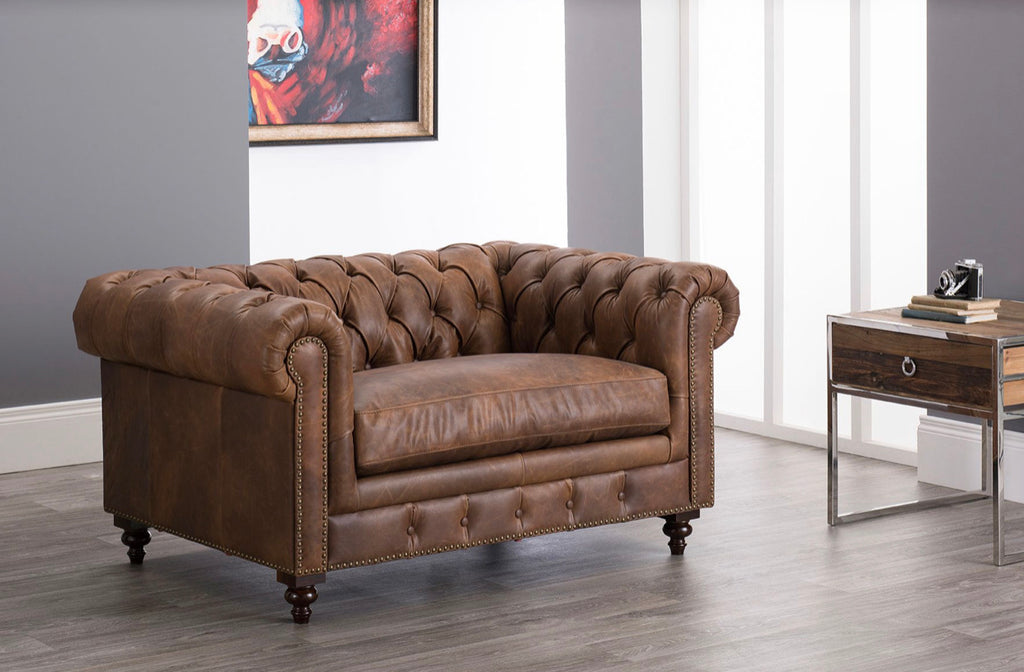 Chesterfield Snuggle Chair - Brown Leather