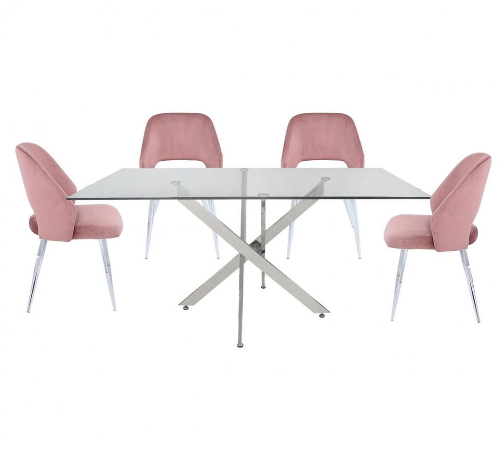 Blush Pink Rectangular Dining Set