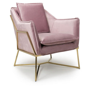 Miami Brushed Velvet Pink Armchair