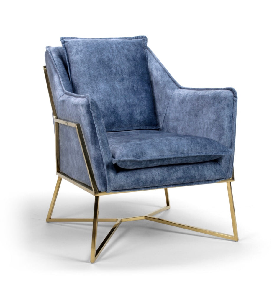 Miami Velour Effect Blue Armchair