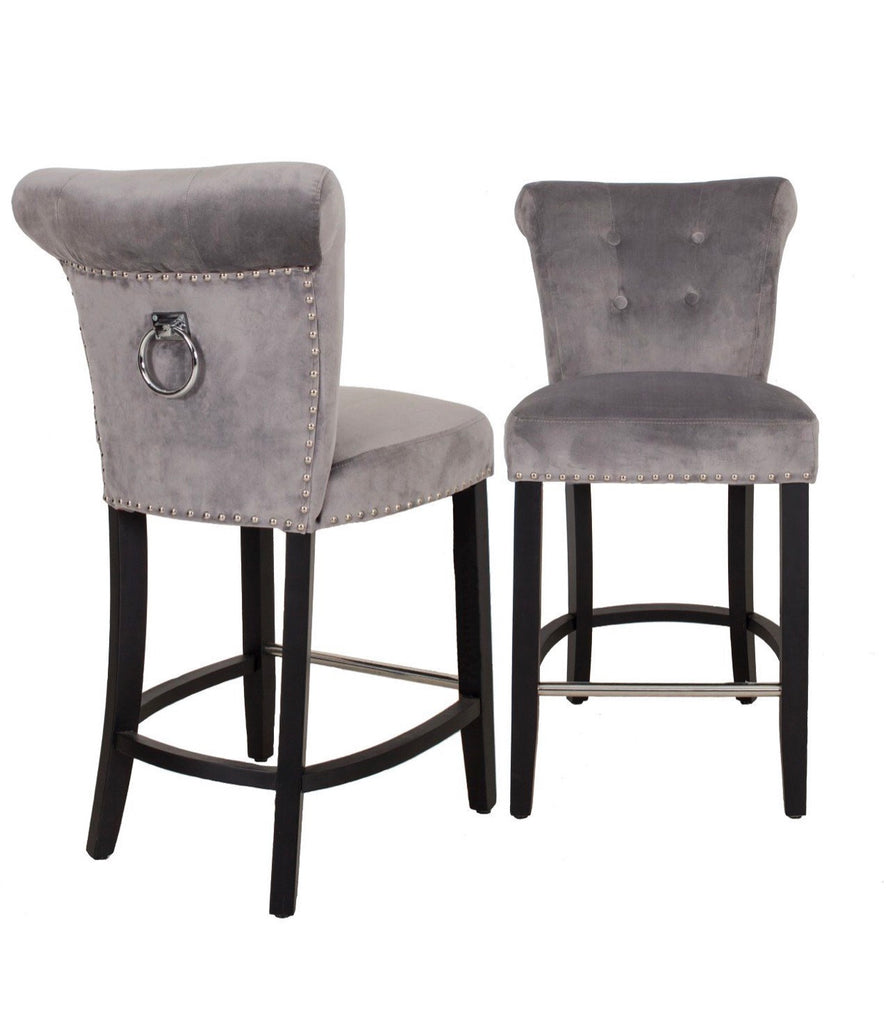 Knocker Bar Stool - Silver
