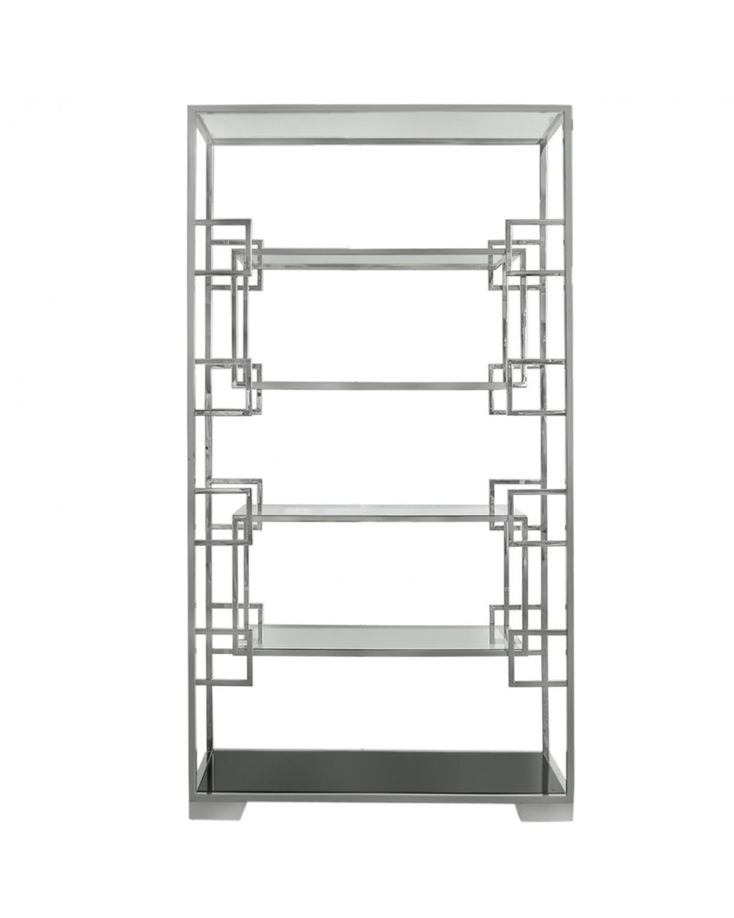 Jaxx Glass Shelving Unit With Polished Steel Frame