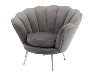 Sasha Shell Chair - Grey Velvet
