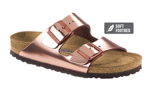 Arizona Natural Metallic Leather in Copper (with soft footbed)