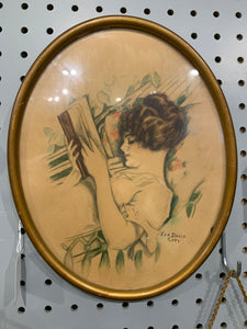 Framed Gibson Girl style painting