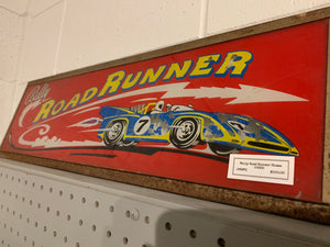 Rally Road Runner glass sign