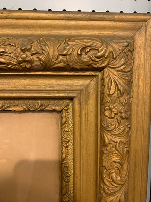 Large antique lady portrait and frame