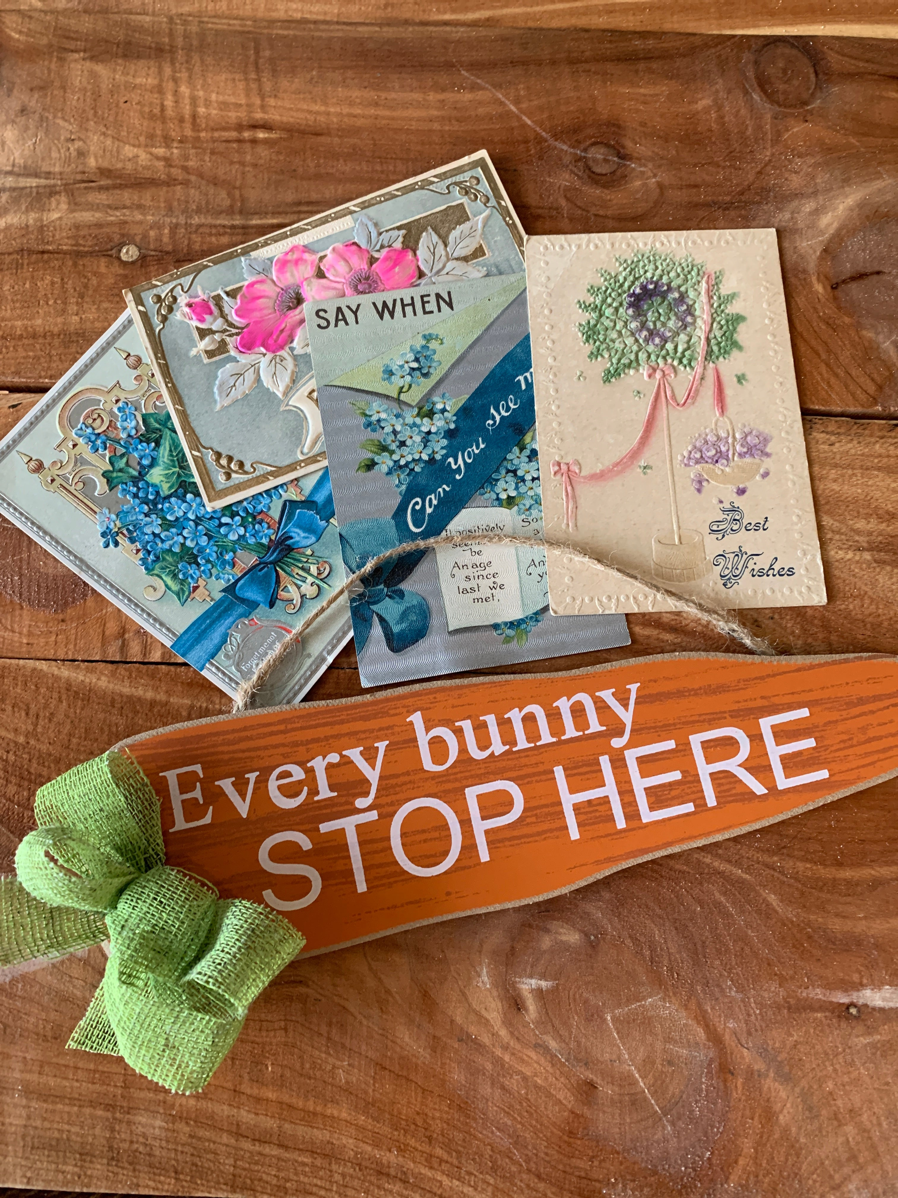 Bundle / Four postcards and Bunny sign