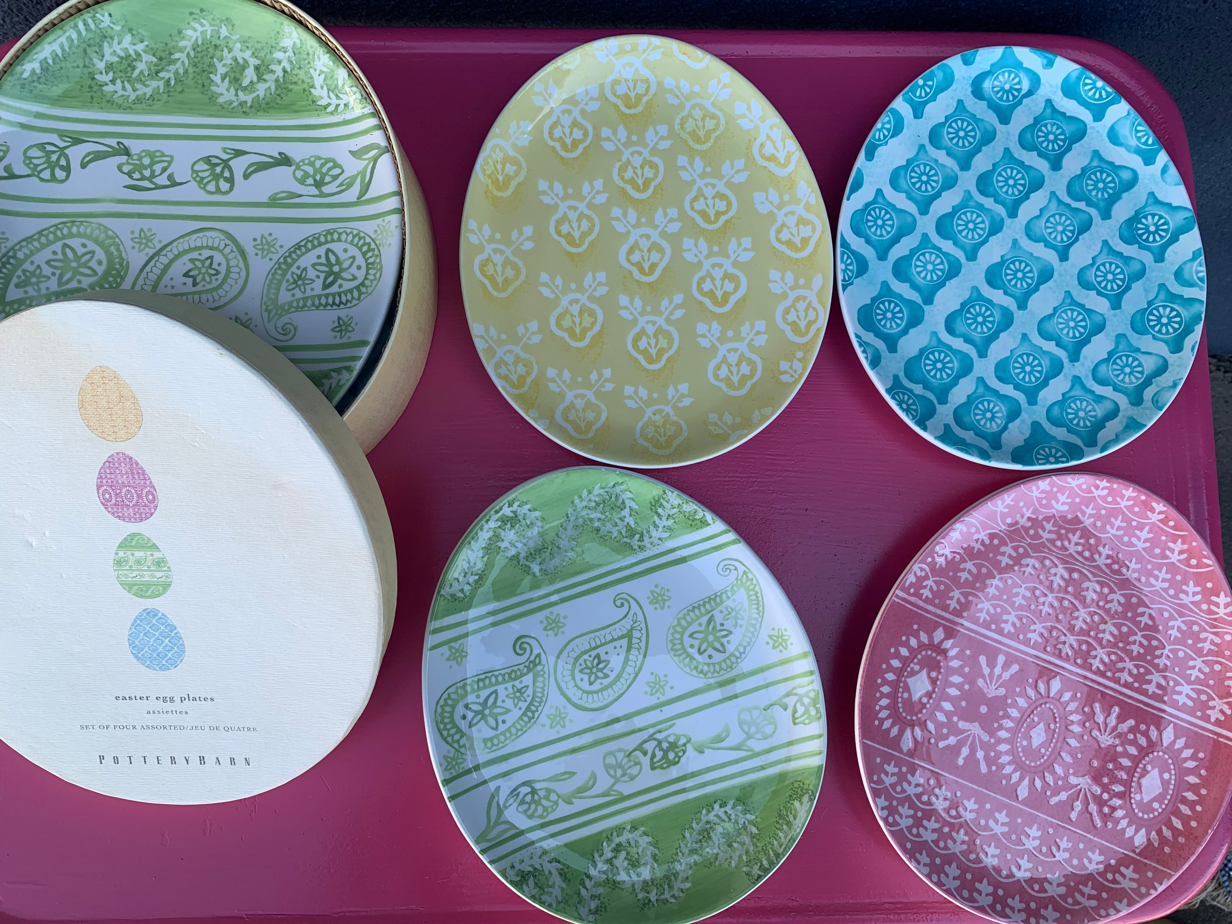 Pottery Barn Egg Plates/ New In Box / Set of Four