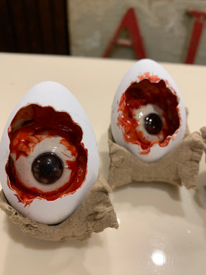 Easter egg eyeball made from real egg