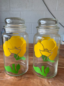 Pair / Yellow floral canisters