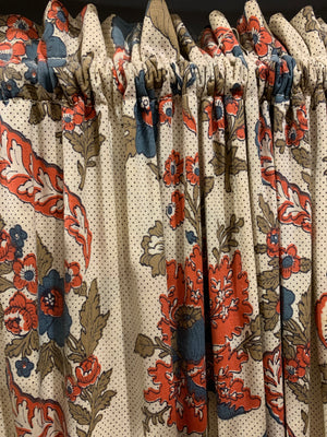 Vintage two paneled fabric paneled screen