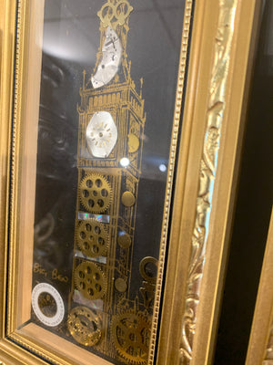 Set of two unique Big Ben pictures made from clock parts