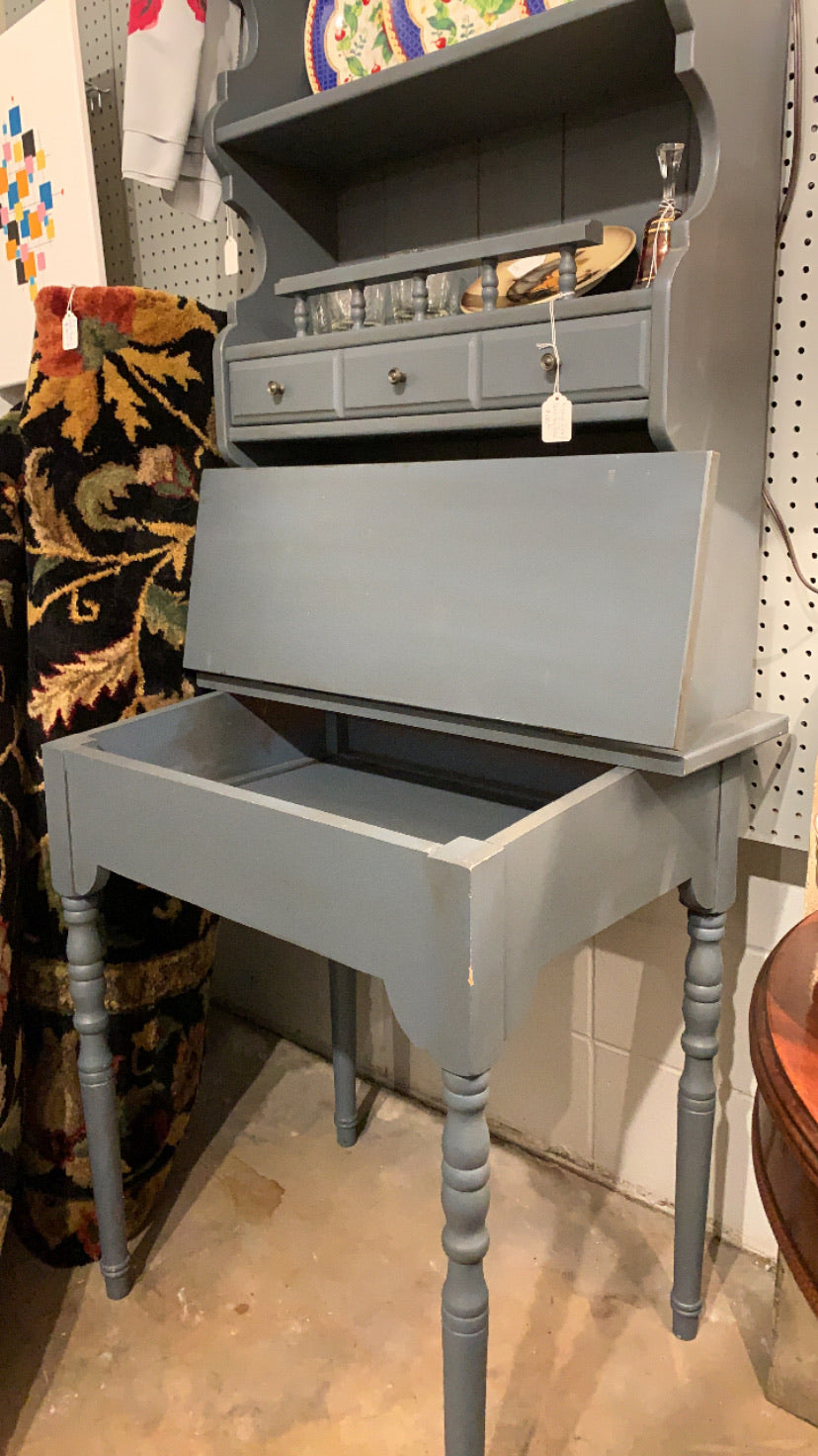 Drop Front Blue/Grey Secretary Desk
