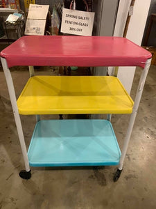 Refurbished multicolored Cosco kitchen cart on wheels