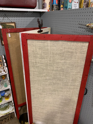 Rustic room divider with hooks / Burlap trifold