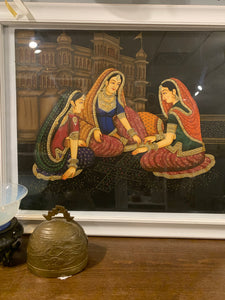 Original hand painted watercolor Mughal style palace ladies
