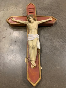 "Chalkware Crucifix / 16"" Tall"