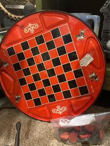 "Vintage metal ""Ohio art"" standard and Chinese checker board"
