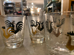 Mid Century Rooster Cocktail Shaker and five cocktail glasses