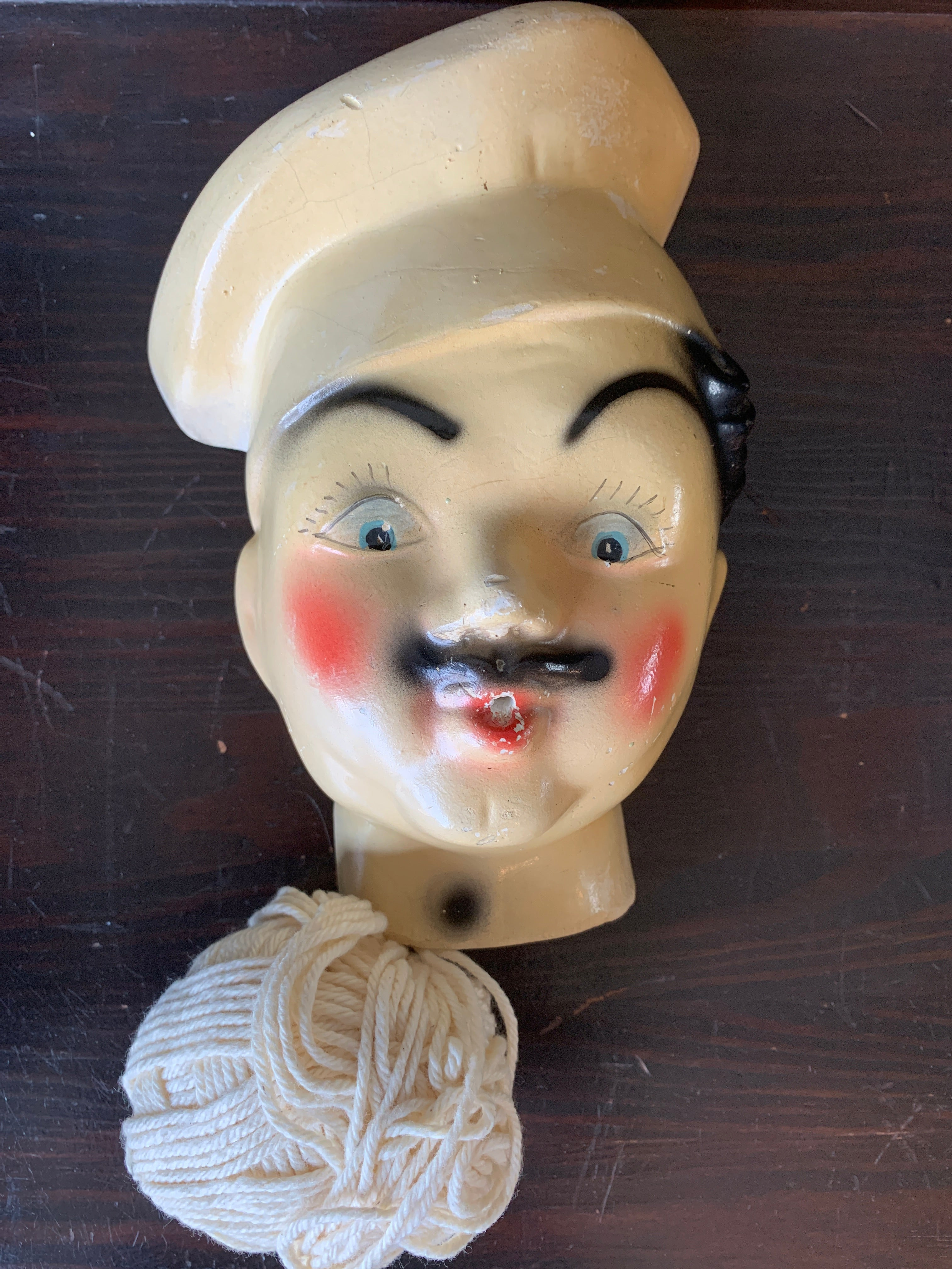 Vintage Chalk String Holder Chef