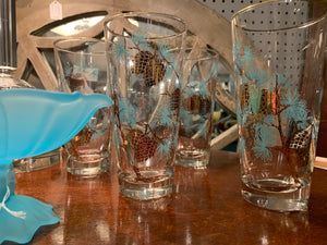 Set of four turquoise pine cone glasses