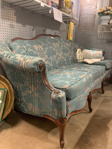 Vintage Couch Turquoise with Wood Trim Victorian