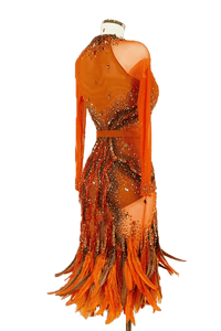 Orange Latin Dress with Multi-Colored Stones and Feathers