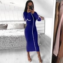 Load image into Gallery viewer, Toneway Clothing Casual Bodycon Women Long Dress Fashion Full Sleeve Striped Patchwork  Dresses Fashion Turtleneck Ladies Skinny Dresses - ToneWay Clothing